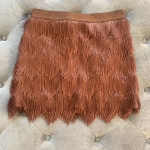 "BCBGMAXAZRIA ""Modie"" skirt with tiered fringe"